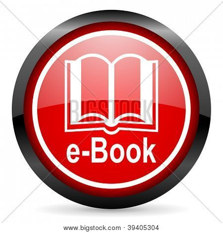 e-book round red glossy icon on white background