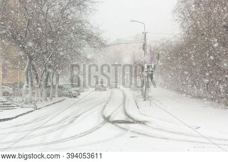 Blizzard, Mist And Snowfall In City, Cars On Sleet Road, Poor Visibility, Winter Bad Weather