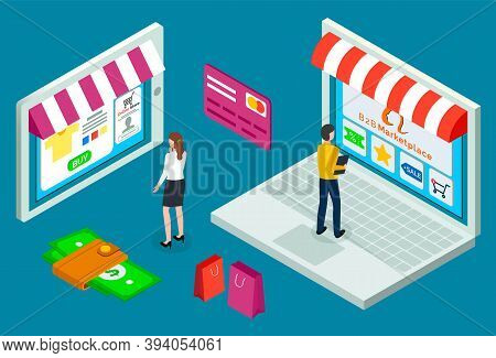 Online Shopping Concept. Opened Laptop With Awning, Man Sales Manager In The Field Of B2b Standing O