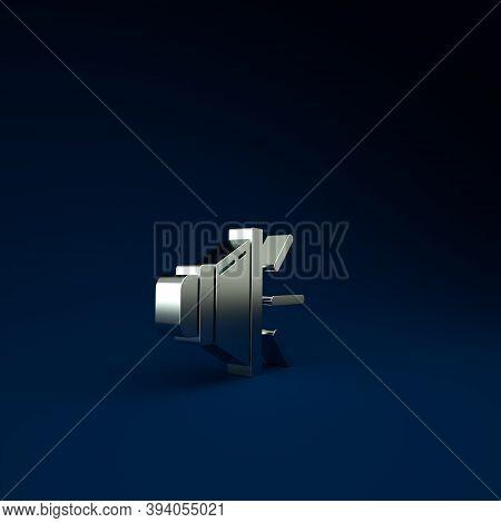 Silver Speaker Volume, Audio Voice Sound Symbol, Media Music Icon Isolated On Blue Background. Minim