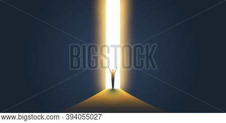 New Possibilities, Hope - Overcome Business Problems, Solution Finding, Vector Concept - Businessman