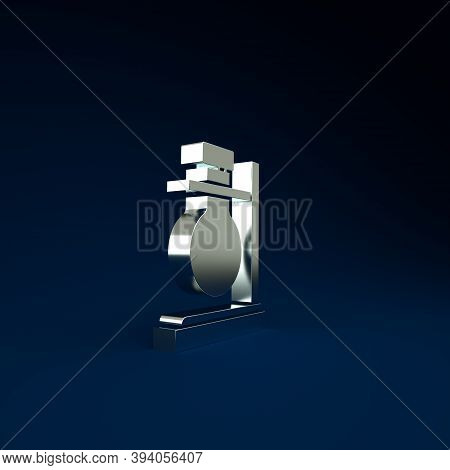Silver Glass Test Tube Flask On Stand Icon Isolated On Blue Background. Laboratory Equipment. Minima