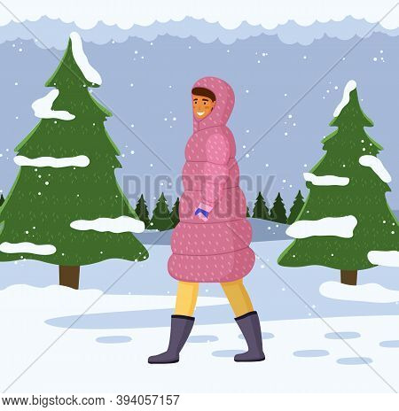Woman In Warm Coat With A Hood On Her Head Walking Alone Outdoor In Cold Weather Vector Illustration
