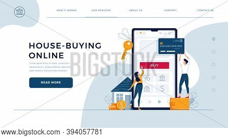House Buying Online Homepage Template. Family Buys A Home, Paying By Credit Card. Property Web Purch