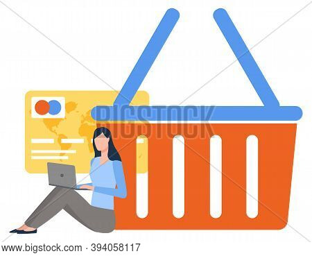 Woman Using Laptop, Pay Card And Truck Symbol, Shopping Element. Female Character Sitting With Compu