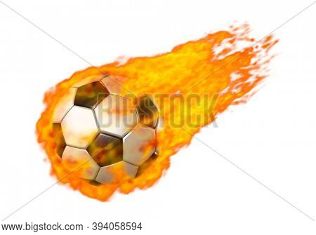 3D Illustration of a Flying soccer ball burning in red flames Isolated over white background
