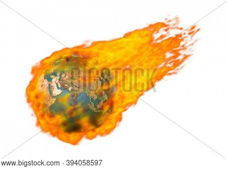 3D illustration of a Burning in flames flying Earth globe Global warming fossil fuel greenhouse gases ecology environmental concept Isolated silhouette over white background