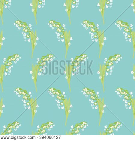 Vector Geometric Botany Lily Of The Valley Pattern With Hand Drawn Flower And Heart On Teal Backgrou