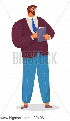 Serious Man, Chief, Bearded Businessman Dressed Formally Standing At Full Height With A Clip Board I