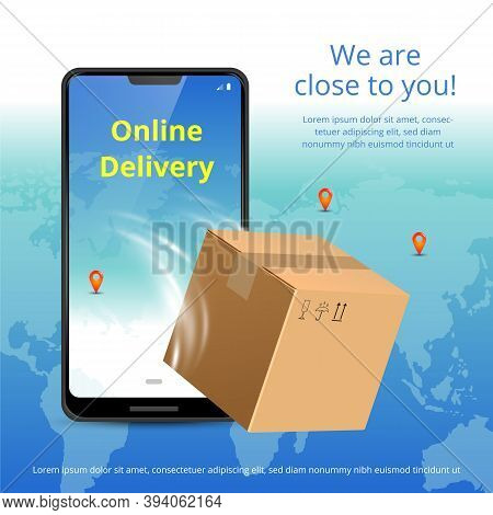 Online Delivery Service Concept. Realistic Phone, Plane And Package Box. Suitable For Banner, Backgr
