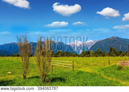 On the way to Lake Matheson. Mount Cook and Mount Tasman. The most picturesque nature in the world. Exotic journey to the ends of the earth. New Zealand, South Island