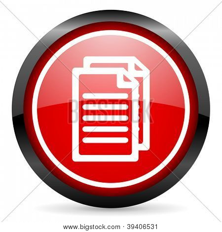 document round red glossy icon on white background