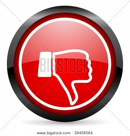 thumb down round red glossy icon on white background