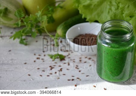 Detox Diet. Green Smoothie With Different Vegetables On White Wooden Background Copy Space. Diet Veg