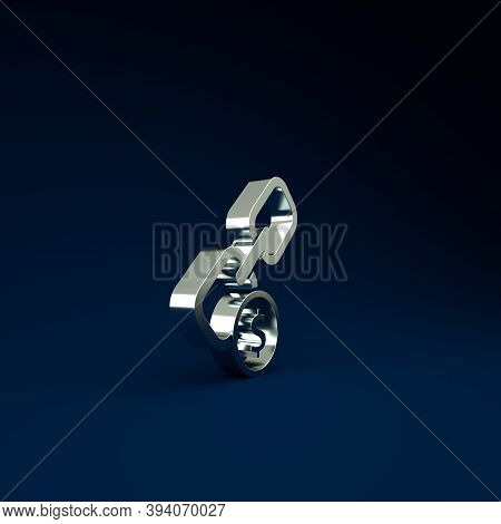 Silver Chain Link And Coin Icon Isolated On Blue Background. Link Single. Hyperlink Chain Symbol. Mi