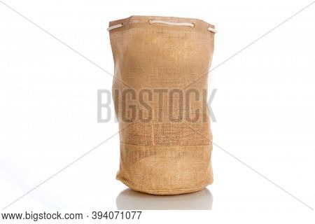 Burlap Bag. Burlap Bag Isolated on white. Room for text. Generic burlap bag ready to be filled with anything you choose.