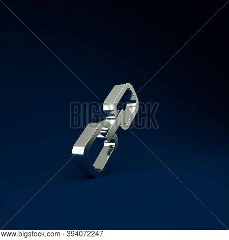 Silver Chain Link Icon Isolated On Blue Background. Link Single. Hyperlink Chain Symbol. Minimalism