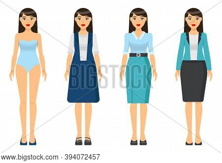 Cartoon Characters. Woman Brunette With Short Haircut Wearing Different Clothes. Girl In Underwear.