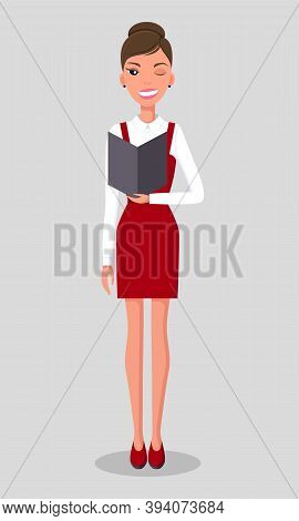 Pretty Young Slim Woman Character In Business Clothes. Smiling Business Woman With Closed Eye Winkin