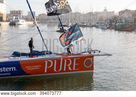 Les Sables D'olonne, France - November 08, 2020: Romain Attanasio Boat (pure - Best Western) In The
