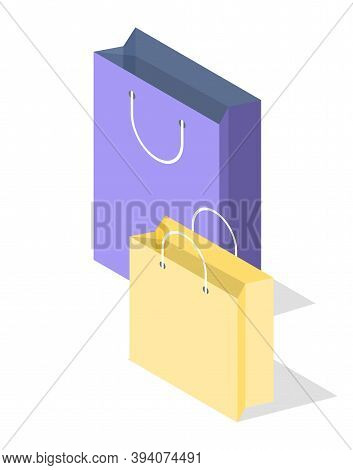 Empty Shopping Blue And Yellow Paper Bag Isolated On White Background For Advertising And Branding.