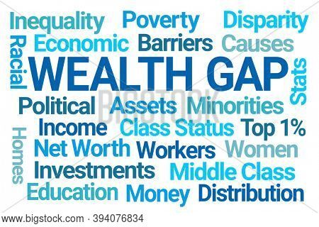 Wealth Gap Word Cloud on White Background