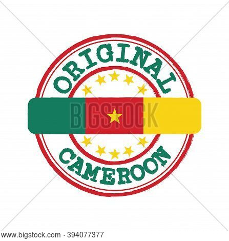 Vector Stamp Of Original Logo With Text Cameroon And Tying In The Middle With Nation Flag. Grunge Ru