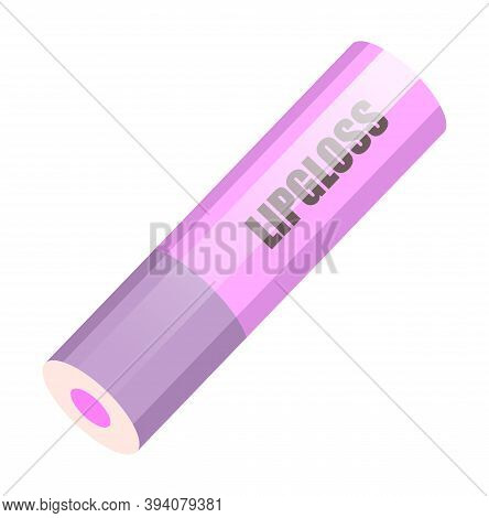 Closed Lilac Lip Gloss Tube. Lip Cream Plastic Opaque Bottle Of Pink Color With A Screw Cap Isolated