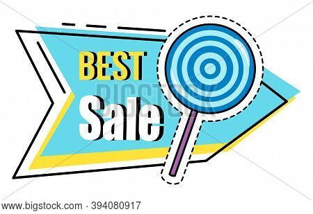Best Sale Banner. Discount Poster Template. Big Sale Special Offer With Inscription And Lollipop Swe