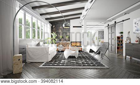 modern living room interior. 3d rendering design