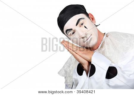 Man with Pierrot costume on white background