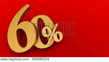 60% Off. Gold Sixty Percent. Gold Sixty Percent On Red Background. 3d Render.