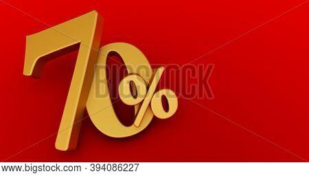 70% Off. Gold Seventy Percent. Gold Seventy Percent On Red Background. 3d Render.