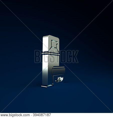 Silver Shaving Gel Foam Icon Isolated On Blue Background. Shaving Cream. Minimalism Concept. 3d Illu