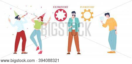 Extraversion And Introversion People Comparison In Communication, Flat Vector Illustration. Cartoon