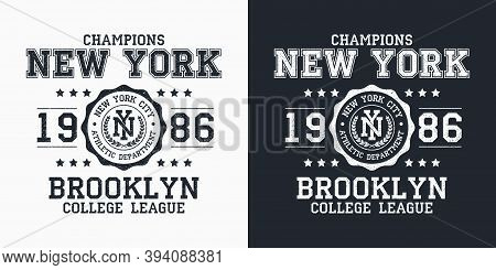 New York, Brooklyn Typography For Design Clothes. Graphics For Print Product, T-shirt With Grunge, V