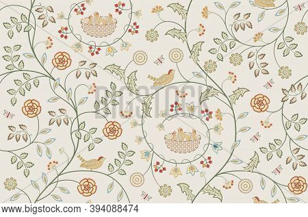 Flowers And Birds Seamless Pattern On Light Background. Quail Berries Leaves Insect Fly Rose. Middle
