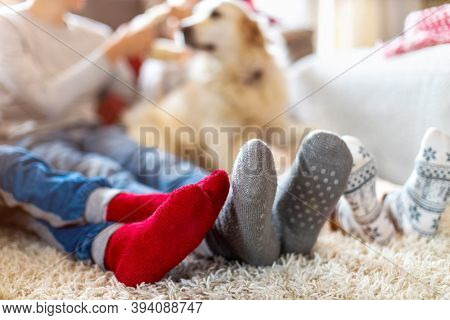 Family in Warm Socks Sitting in a Cosy Christmas Atmosphere at Home