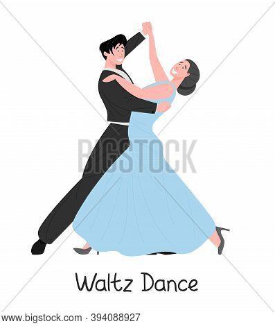 Dancing Couple, Flat Vector Illustration. Elegant Male And Female Cartoon Characters Dance Classic W