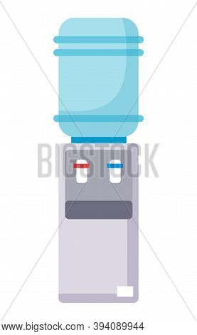 Water Cooler Flat Vector Icon. Gray Water Cooler With Blue Full Bottle And Cup On White Background.