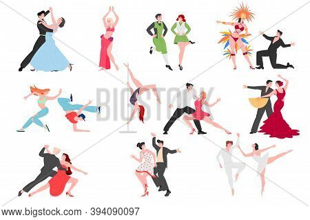 Dancing People Couples, Contemporary And Classical Choreography, Vector Dancers Performers Cartoon C