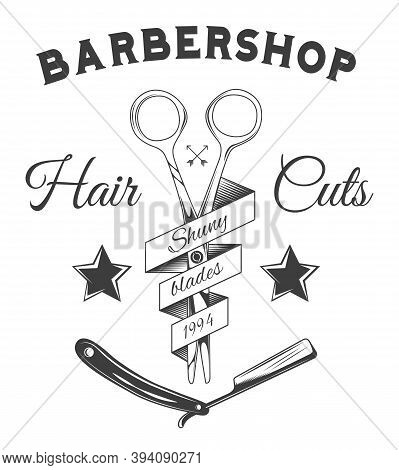Logotype For Barbershop In Black And White Style. Barber Shop Logo Flat Vector Design Emblem With Sc