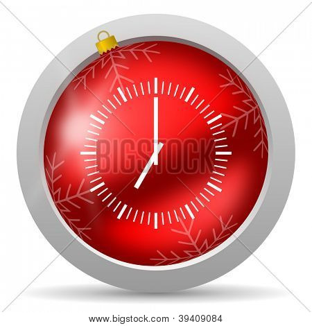 clock red glossy christmas icon on white background