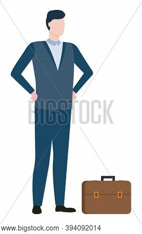 Man Agent Or Consultant, Executive Worker In Suit Isolated On White. Vector Broker With Briefcase, B