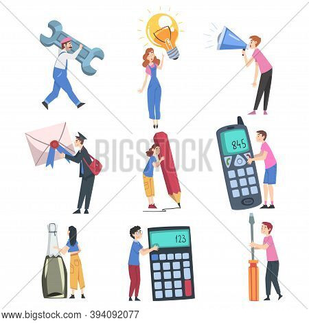 Tiny People Characters Holding Huge Objects, Young Men And Women Carrying Giant Wrench, Light Bulb,