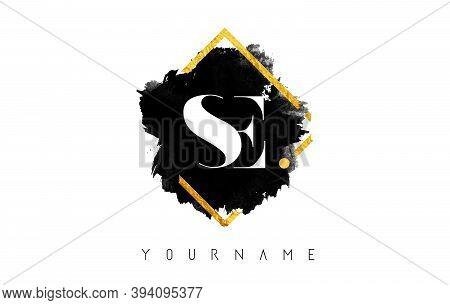 Se S E Letters Logo Design With Black Ink Stroke Over Golden Square Frame Vector Illustration.