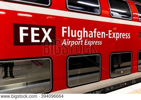 Schönefeld, Germany - November 1, 2020 - Lettering Of The Fex Line On A Regional Train From Berlin C