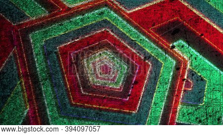 Computer Generated Grunge Pentagonal Shapes. 3d Rendering Abstract Geometric Striped Background