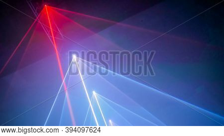 Interactive Exposition In Modern Science Museum Or Exhibition: Bright Laser Show Installation With C