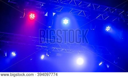 Nightlife, Music, Entertainment And Technology Concept. Colorful Bright Concert Lighting Equipment F
